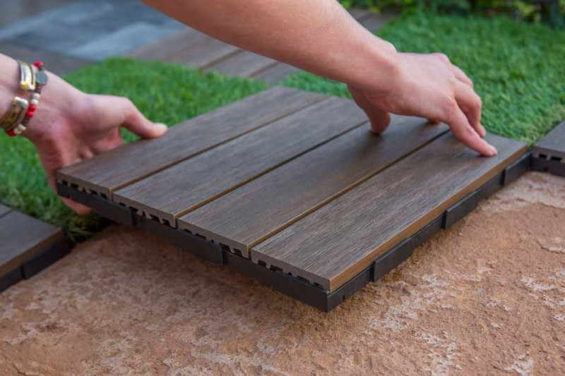 composite deck tiles buy install and maintain. Black Bedroom Furniture Sets. Home Design Ideas