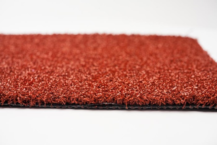 red artificial turf