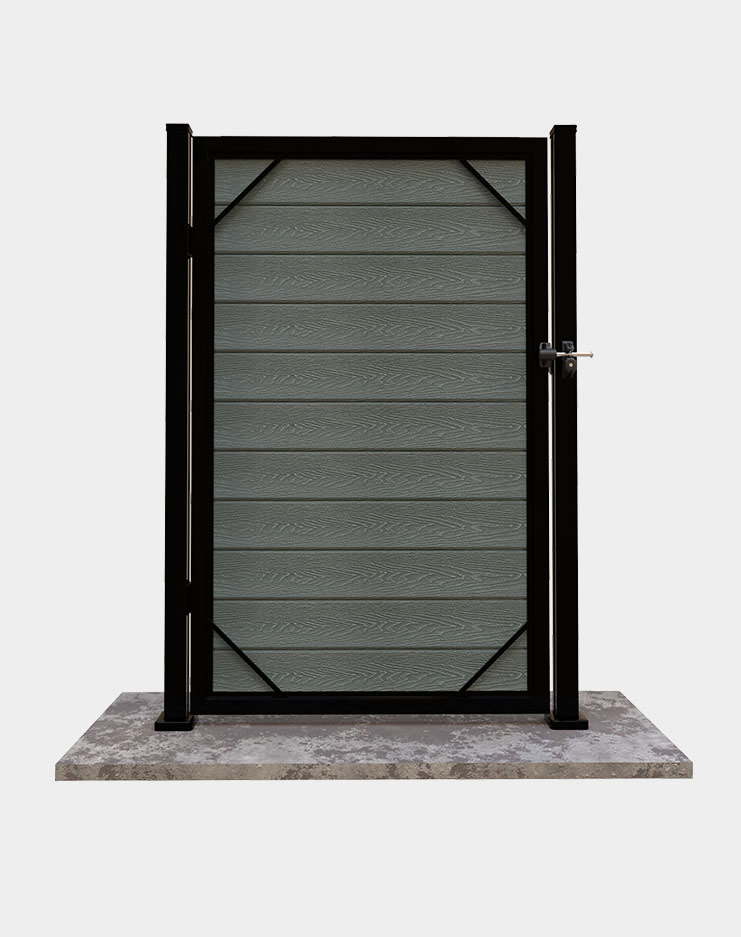 Single gate for outdoor fence ensures privacy and safety for kids and pets and property