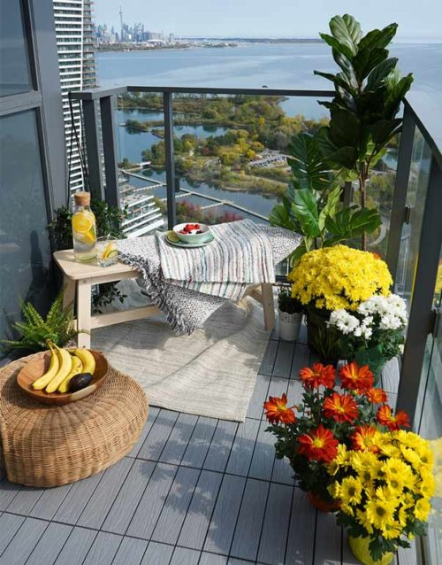 luxurious Balcony tiles Balcony-renovation-extreme-makover-CN-tower-view-composite-light-grey-tiles-patio