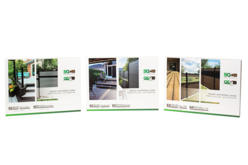composite wood samples ezdeck+ezfence+marketing+book