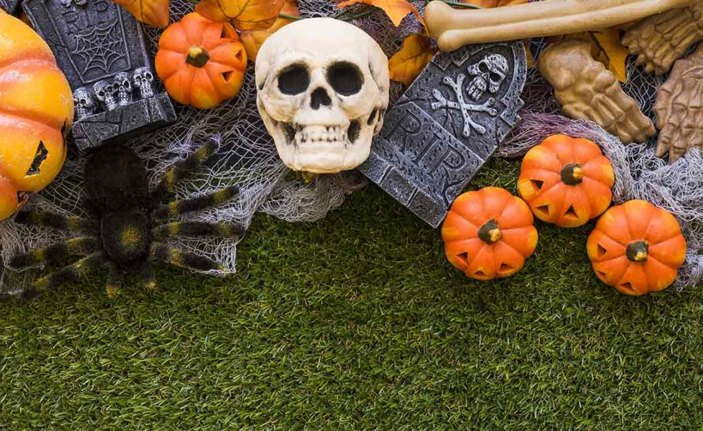 Artificial Grass keeps Zombies from digging their way out of -Graves-during-Halloween!