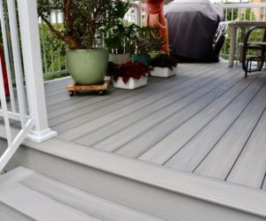 deck with closed staires using composite decking material with nosing and fascia boards