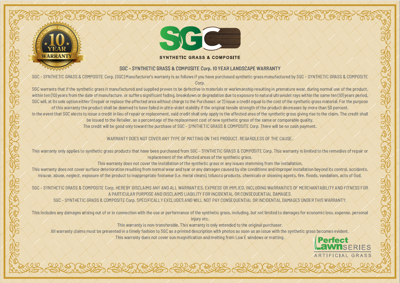 warranty certificate artificial grass