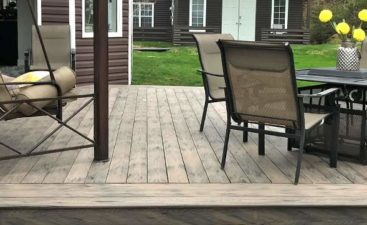 What is composite made of? brown Does-composite-decking-require-maintenance-outdoor-deck-made-with-composite-boards-Outdoor-space-moka-colour
