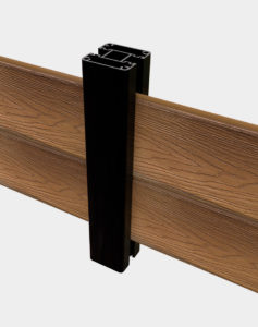 Line-post-black-boards-with two fence boards on the sides different heights suitable for all outdoor projects